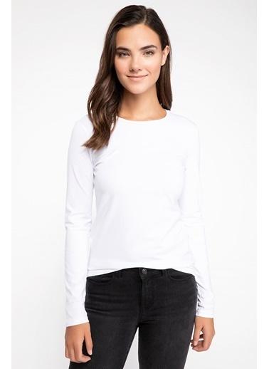 DeFacto Bisiklet Yaka Uzun Kollu T-shirt Beyaz